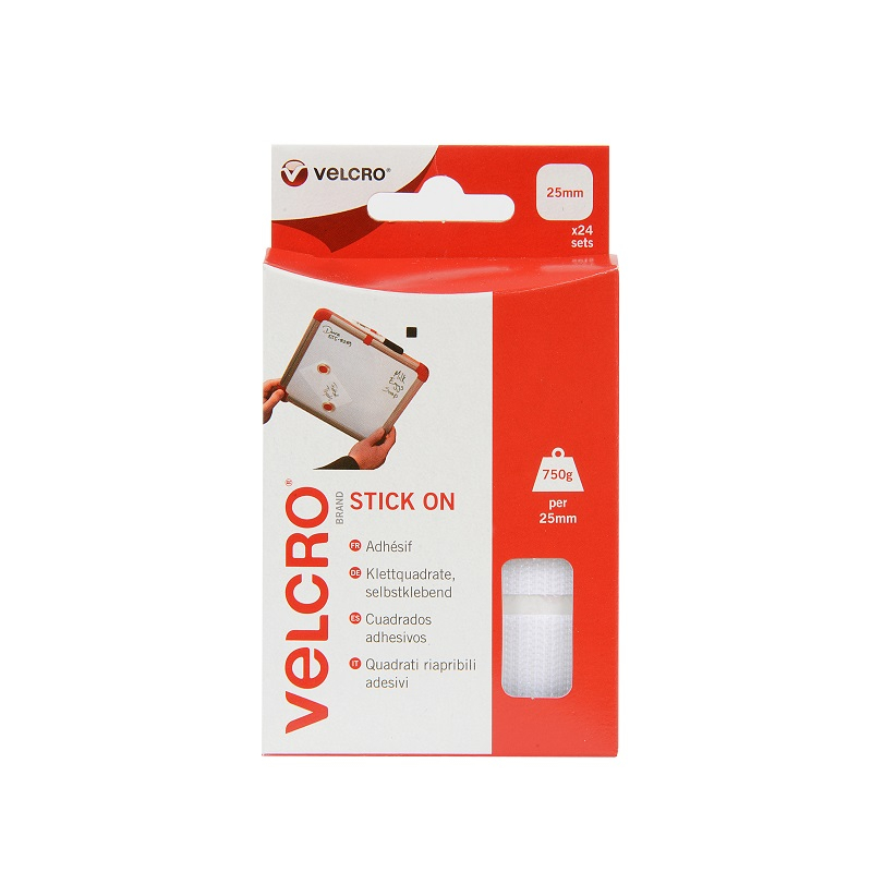 VELCRO® BRAND STICK ON SQUARES 25MM WHITE H & L 24 - 60236
