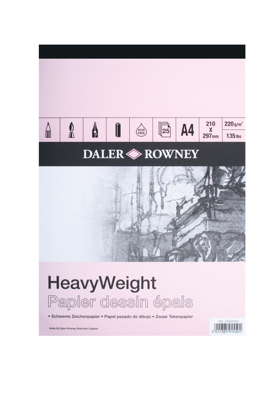 DR HEAVYWEIGHT GUMMED PAD A4 220gm CARTRIDGE PAPER