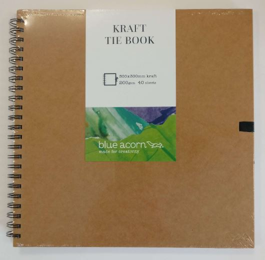 BLUE ACORN TIE KRAFT BOOK 12 x 12 40pp 200g BROWN KRAFT PAPER