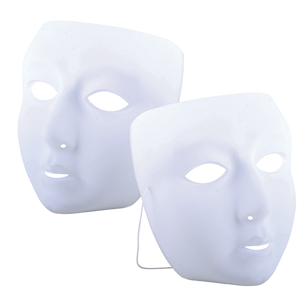 WHITE PLASTIC FACE MASKS 10