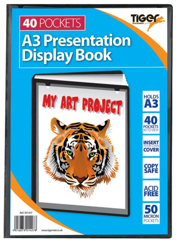TIGER BLACK DISPLAY BOOK A3 40 POCKET