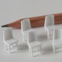 CHAIRS BASIC 1:50 SCALE PCK 10 INJ MOULDED WHITE STYRENE