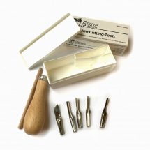 ABIG LINO CUTTING SET WOODEN HANDLE & 5 BLADES