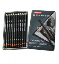 DERWENT GRAPHIC SOFT 12 PENCIL TIN   SKETCHING SET