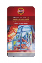KOH-I-NOOR POLYCOLOR ARTIST 12 COLOURED PENCILS TIN
