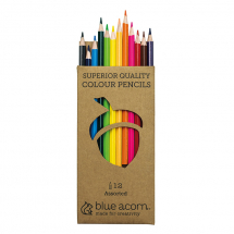 BLUE ACORN COLOURED PENCIL CRAYONS 12 ASSORTED