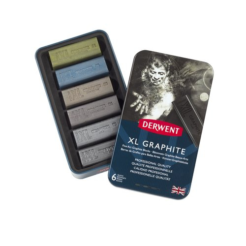 DERWENT XL GRAPHITE BLOCKS 6 ASSORTED COLOUR TIN
