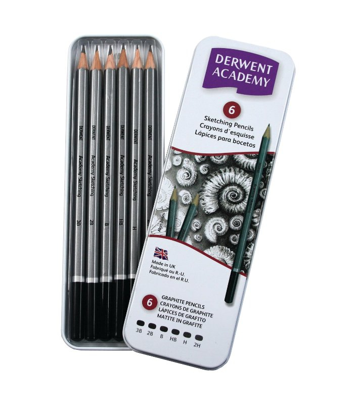 ACADEMY SKETCHING PENCILS TIN OF 6 3B-H