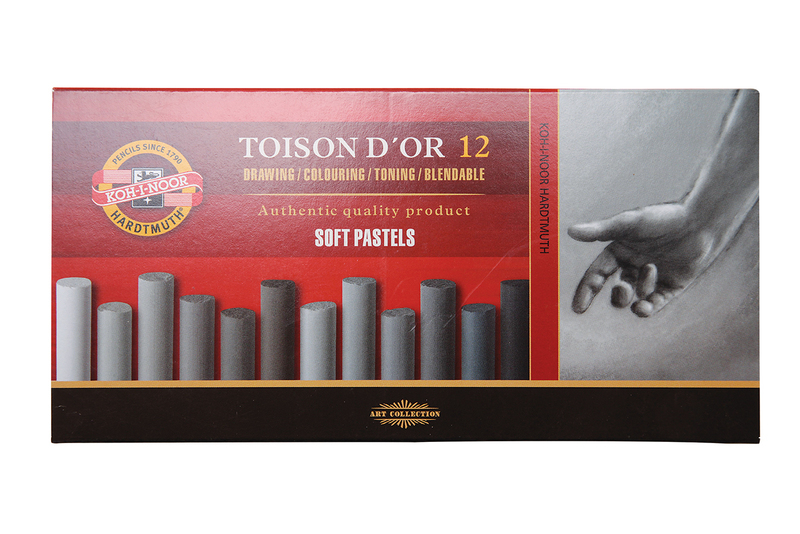 KOH-I-NOOR TOISON D'OR 12 GREY SOFT PASTELS SET