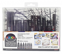 POSCA MARKERS BLACK 8PC ASST SET