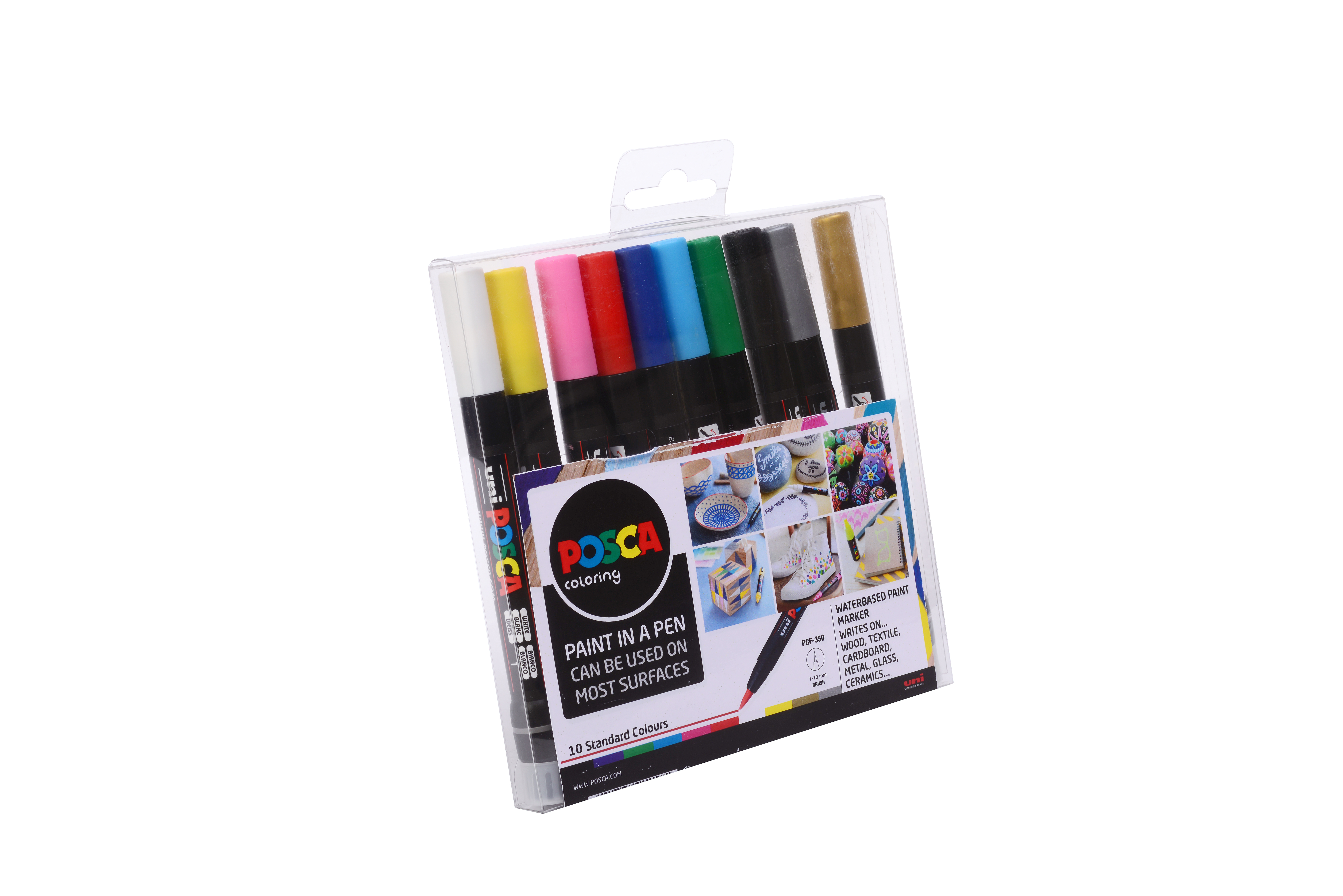 POSCA BRUSH PEN PCF-350 10pce ASSORTED STARTER PACK