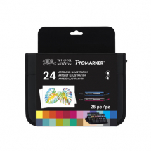 PROMARKER WALLET OF 24 COLOURS ARTS & ILLUSTRATION