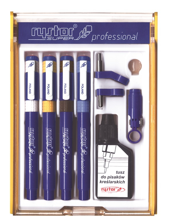 SUPER PROFESSIONAL TECHNICAL DRAWING 4 PEN SET