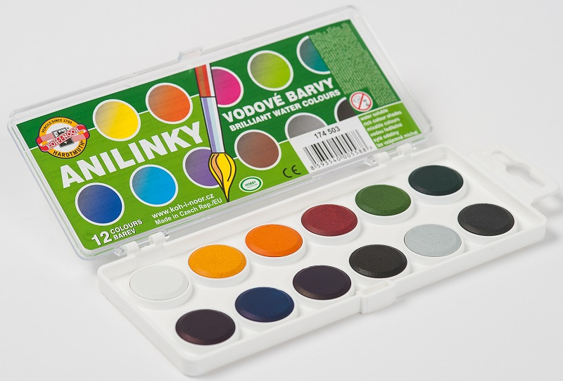 KOH-I-NOOR ANILINKY 12 COLOUR BRILLIANT WATERCOLOUR SET