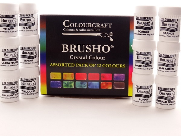 BRUSHO ASSORTED PACK OF 12 COLOURS      (CRYSTAL COLOURS)