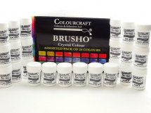 BRUSHO ASSORTED PACK OF 24 CRYSTAL COLOURS 15g