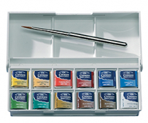 WN COTMAN SKETCHERS POCKET BOX 12 HALF PANS & BRUSH