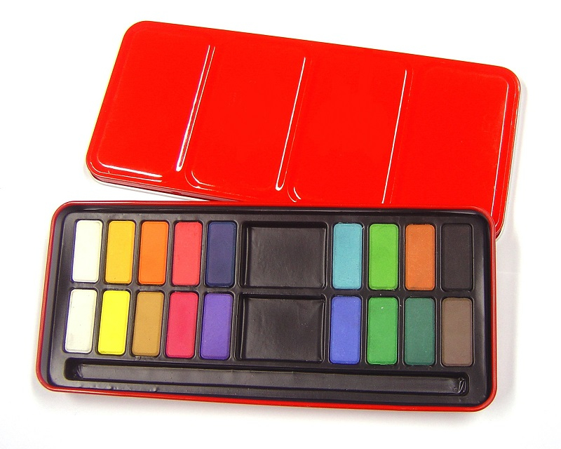 RED WATERCOLOUR TIN - 18 WHOLE PANS