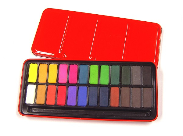 RED WATERCOLOUR TIN - 24 WHOLE PANS